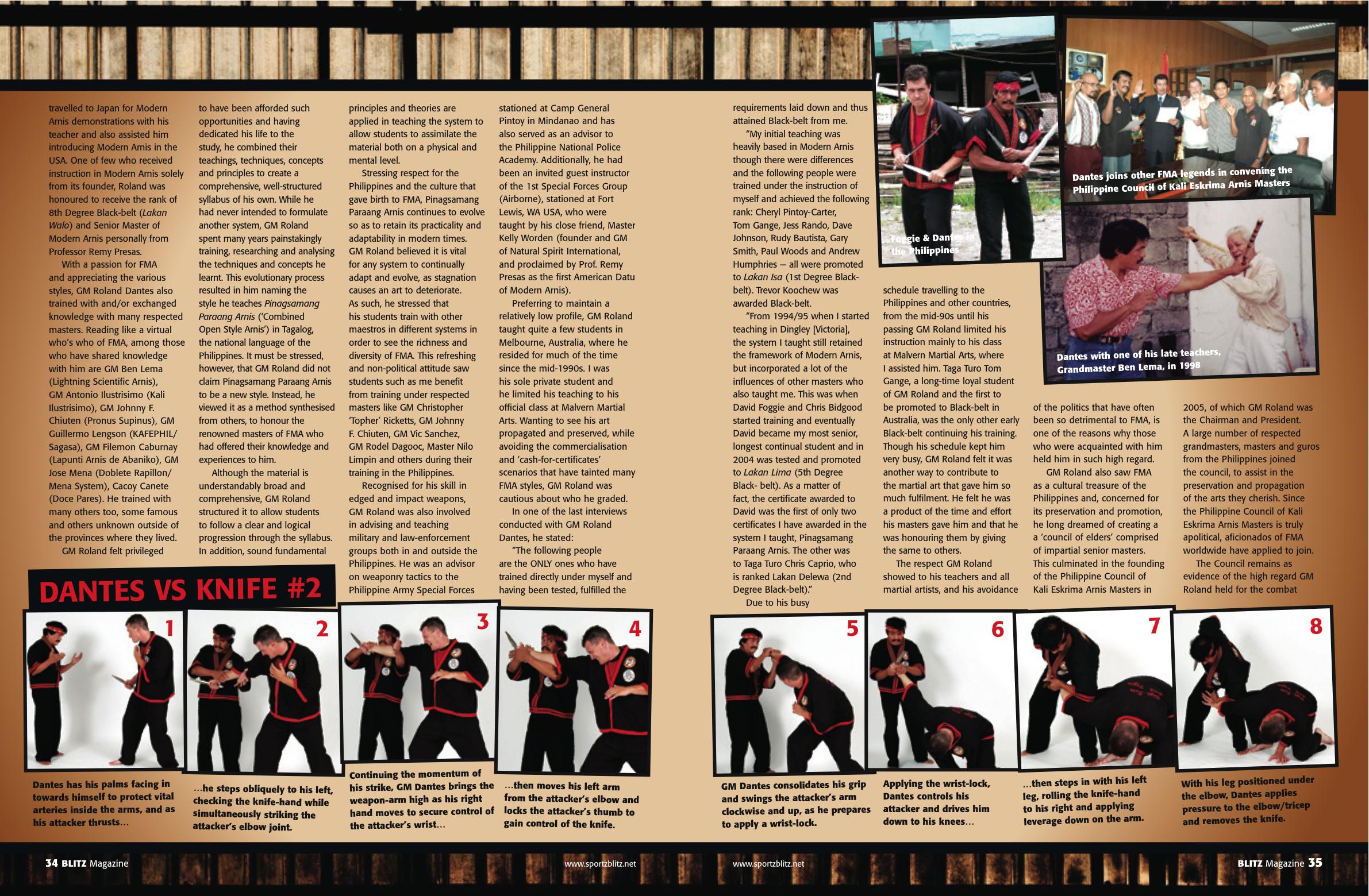 Master Roland Dantes by David Foggie for Blitz Australia Magazine 2012 Kali Arnis Eskrima 2 Master Roland Dantes by David Foggie for Blitz Australia Magazine 2012 Kali Arnis Eskrima