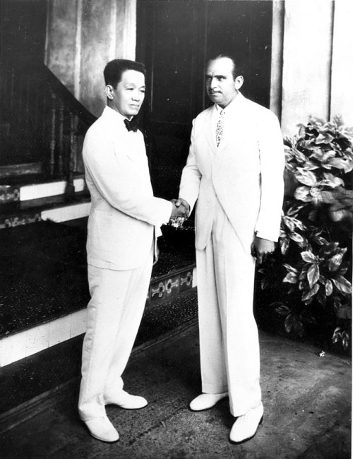 Emilio Aguinaldo and Douglas Fairbanks his Cavite home March 26 1931