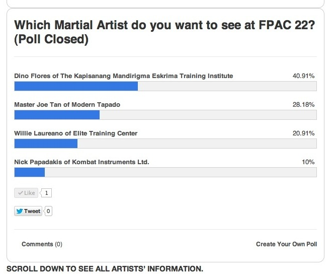fpac poll eskrima kali arnis 22nd Festival of Philippine Arts and Culture, 2013 in Los Angeles