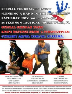 Filipino Martial Arts - Special Knife Defense Seminar Fundraiser for the Philippines, Hollywood, Florida USA. Nov 30th, 2013