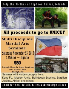 Filipino Martial Artists Join with other Martial Arts Groups for a Typhoon Haiyan Relief Seminar.